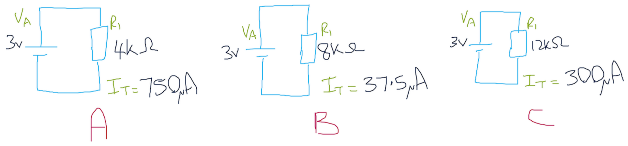 Electronics Fundamentals Brads Electronic Projects Voltage Divider Tutorials Which Of These Circuits Shows The Correct Amount Current